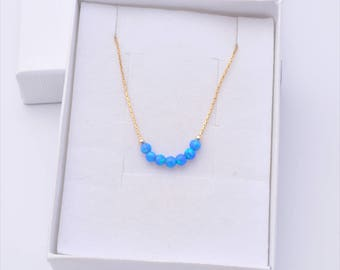 Opal jewelry, Opal gold necklace, Opal necklace, Blue opal bead necklace, gold filled tiny necklace, opal bead necklace, minimalist necklace