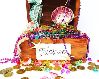 Mermaid treasure chest filled with jewels, coins and fun!