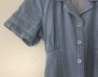 90s denim dream babe mid length/ maxi button up Erika dress