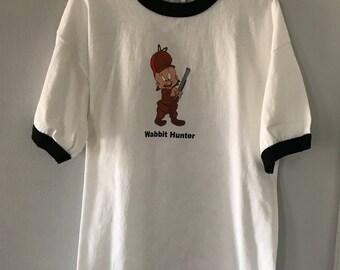 Vintage 90s Looney Tunes Elmer Fudd Ringer T-Shirt XL Wabbit Hunter