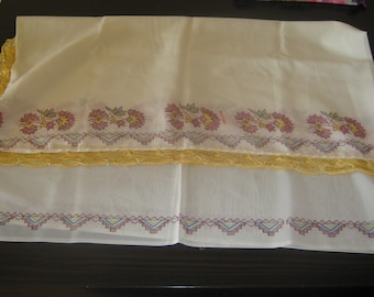 Turkish old traditional long scarf embriodered and needle point amazing pastel colors vintage