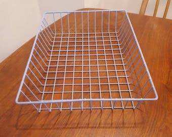 Vintage Baby Blue Wire Office Tray Desk Organiser
