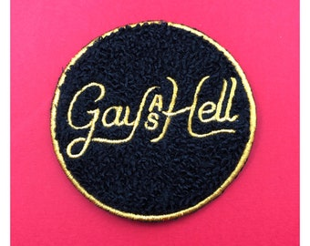 Gay as Hell Chenille Sew On Patch LGBT Gay feminist patch Queer feminism drag Lesbian patch Gay Girls Pride Patch vintage