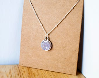 opalescent druzy necklace with silver chain and setting 15mm