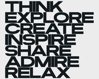 A3 | Think Explore Create Inspire Share Admire Relax