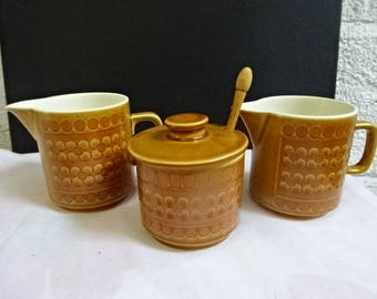 Hornsea Pottery Sugar/Preserve Pot with Original Wood Spoon/2 Creamers/Mulk Jugs/Saffron/Retro/Vintage/1970s