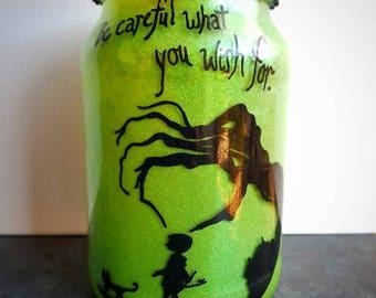 Handpainted Coraline inspired candle mason jar