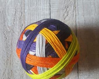 Hand Dyed 7 Color Self Striping Sock Yarn ~ Halloween ~ Green, Orange, Purple, Silver and Black Stripes
