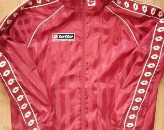 Lotto 90's Vintage Mens Windbreaker Tracksuit Top Hooded Jacket Coat Football