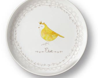 Personalized bird porcelain plate
