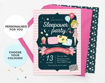 Sleepover invitation, slumber party invitations, sleepover party invitations, pajama party invitation sleepover birthday invite pyjama party