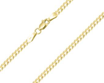 """10K Solid Yellow Gold Cuban Necklace Chain 2.5mm 16-24"""" - Round Curb Link"""