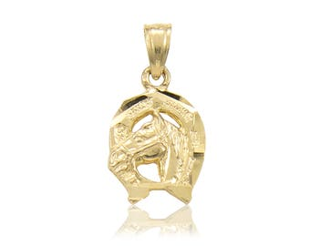 14K Solid Yellow Gold Horse Head Horseshoe Pendant - Good Luck Necklace Charm