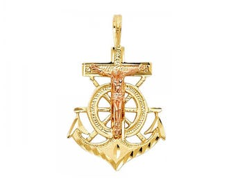 14K Solid Yellow Rose Gold Jesus Crucifix Anchor Pendant - Cross Necklace Charm