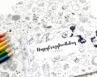 Coloring Book - Happy Crazy Doodle Day - Cute Mini Kawaii A6 Coloring Booklet - whimsical gift for kids and adults illustrated by Jen Katz