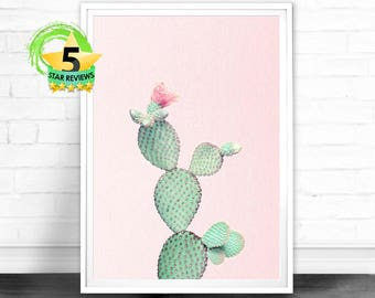 Cactus Wall Art, Cactus Print, Cactus Art, Desert Cactus Photo, Cactus South Western Decor, Cactus Photography, Pink and Green Printable Art