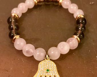 Cancer Survivor Rose Quartz and Smoky Quartz 8mm Bracelet
