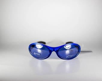 BRIZZA Vintage Sunglasses Unisex Blue Plastic Sport 1990s BRIS188E-1
