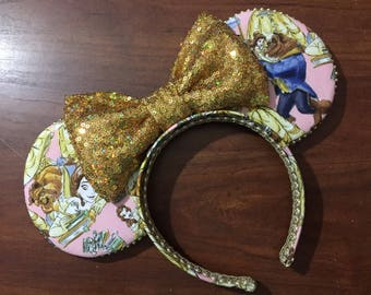 Beauty and the beast ears, Belle, Beast, Red rose