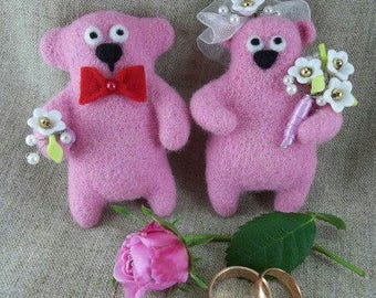Sweet couple, bears, wedding, pink