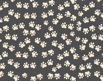Cotton fabric organic US - Windham designer Carolyn Gavin footprints charcoal grey - by 50 cm (110 x)