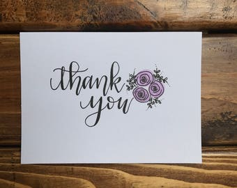 THANK YOU Floral card- handwritten card- available in a set- modern calligraphy- blank card