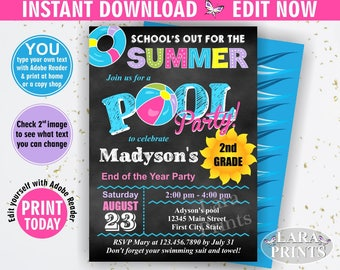 INSTANT DOWNLOAD / Graduation Invitation / Pool / Waterslide / Swimming / Summer / End of school / Party Beach Invite Girl Chalkboard BDP6