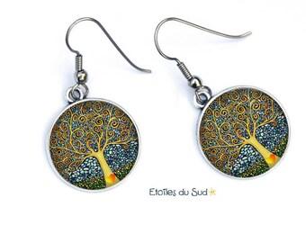 Boucles d'oreilles l'arbre de vie,Cabochon en résine,  crochets anti allergique / ref.N353