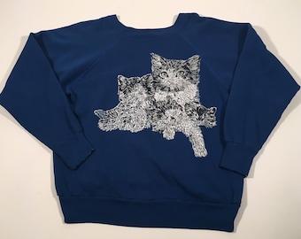 Vintage 90s kittens blue crewneck sweatshirt