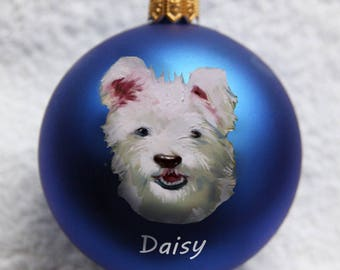Custom  pet portrait Personalized Christmas ornament  Dog Cat portrait glass Christmas Ornament
