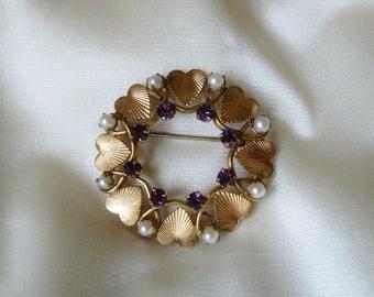 Vintage Heart Amethyst & Pearl Brooch/12K GF Heart Wreath brooch/Yellow gold filled/Karen Lynne 12K GF Mother's Day Gift