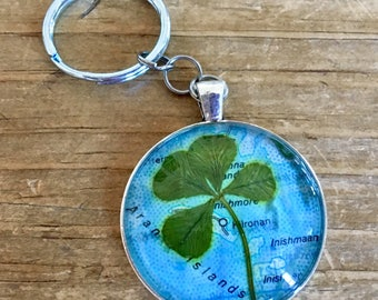 One-of-a-kind four-leaf clover keychain (map of Aran Islands)