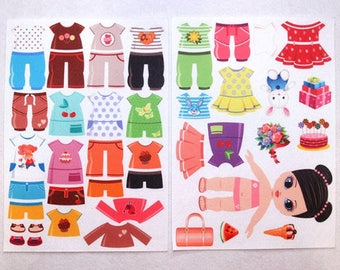 2 Printed sheets. Dress up Doll. Korean Felt. Eco-polyester 100%.