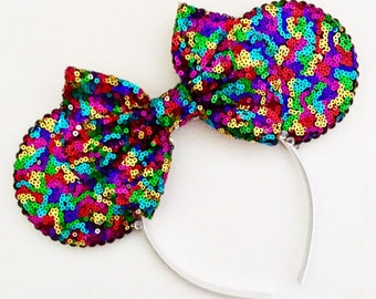 The Full Sequin (Rainbow) - Handmade Sequin Mouse Ears Headband
