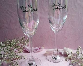 Champagne flutes personalized wedding christening holidays where families