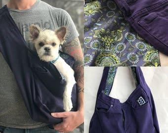 Bullshitz Doggie Bagz: Purple Denim & White Canvas with Modern Deer