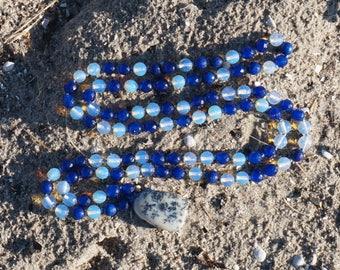 Sri Lanka Sapphire,Moonstone,Dentrite opal Guru 108 bead Mala