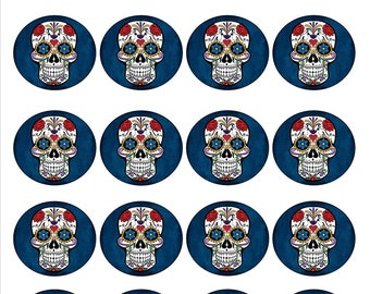Halloween Day of the Dead sugar skull cupcake toppers or treat bag seals/stickers.