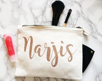ROSE GOLD glitter Personalised make up bag | Personalized gift | Bridesmaid gift  | Personalised Birthday Present | Wash bag | name bag