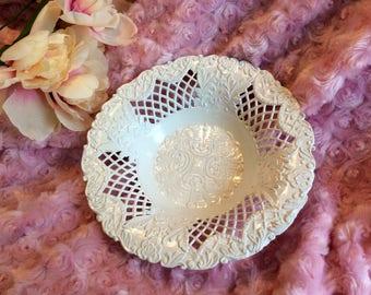 Vintage Italian white metal lattice bowl
