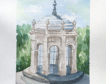 Spain Architecture Watercolor Painting, Original painting, 8.5 x 12, Wall Art, Travel art, Home Decor, architectural painting, Gift for her