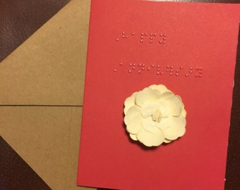Happy Anniversary greeting card in Braille
