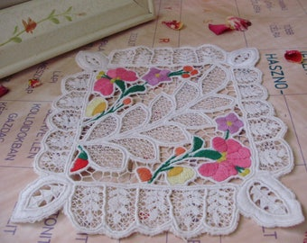 Lovely,Vintage,Hungarian handmade embroidered  doily ,RICHELIEU DOILY,Kalocsa flower pattern,Cottage/Shabby Chic