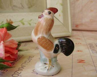 Vintage Hungarian Aquincum porcelain bird figurine,tiny rooster, handpainted,stamped