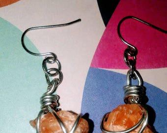 Orange quartz earrings