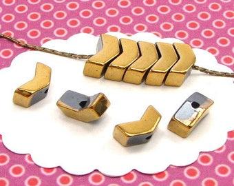 40 herringbone PK27 gold Hematite bead