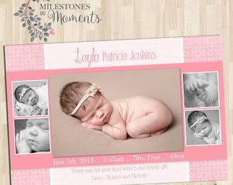 Photo Birth Announcement   Baby Birth Announcement   Baby Thank you Card   Girl Announcement   Customised for you to print  Digital delivery