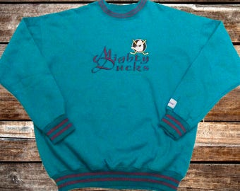 Vintage 90s Anaheim Mighty Ducks The Game Teal Blue Sweatshirt Size XL/L For Fans of Anaheim, Vintage Hockey, Vintage Hoodies, or The 1990s