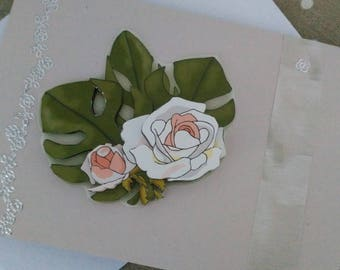 "Card 3D ""Condolences white flower"""