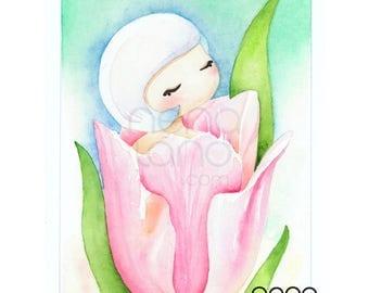 Tulip girl, flower, art print made from original watercolour